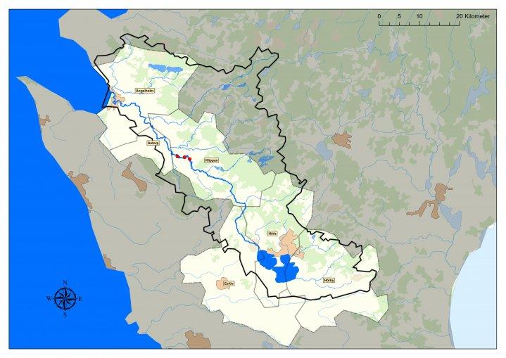 Karta över sträckning Rönne Å