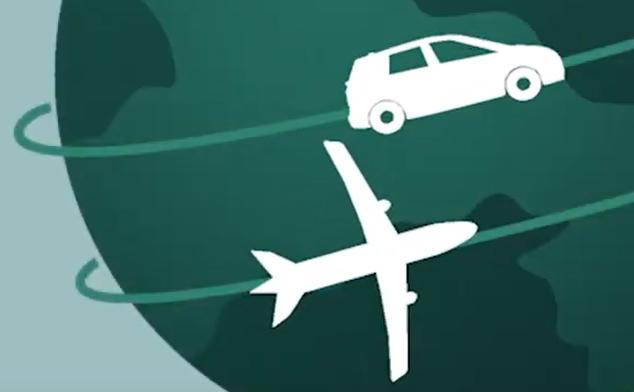 Bil och flygplan jorden runt.