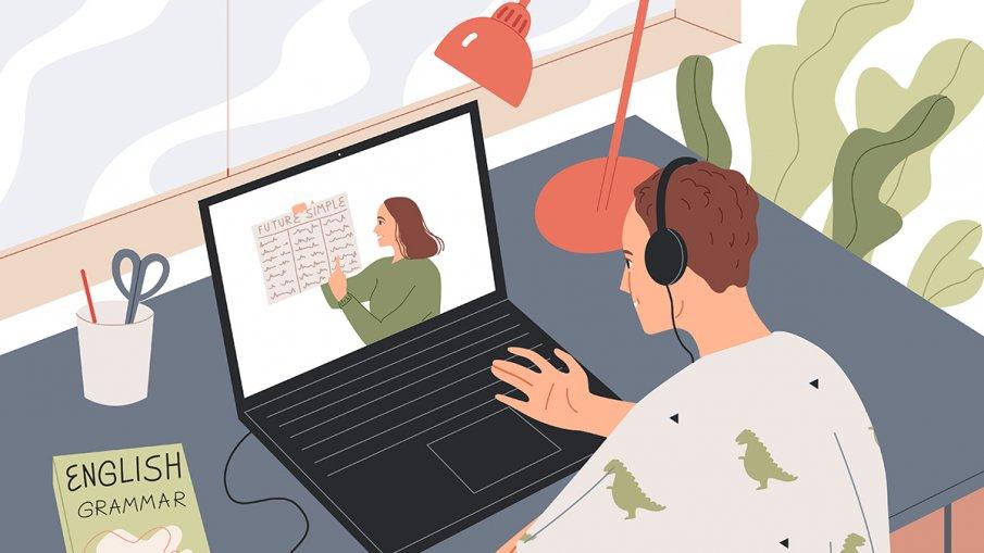 illustration av elev framför en dator