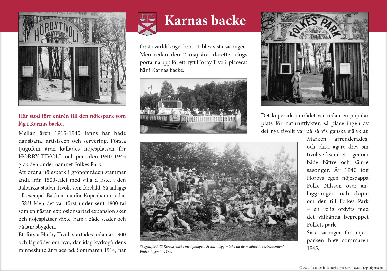Text och bild om tivoliverksamheten i Karnas backe.