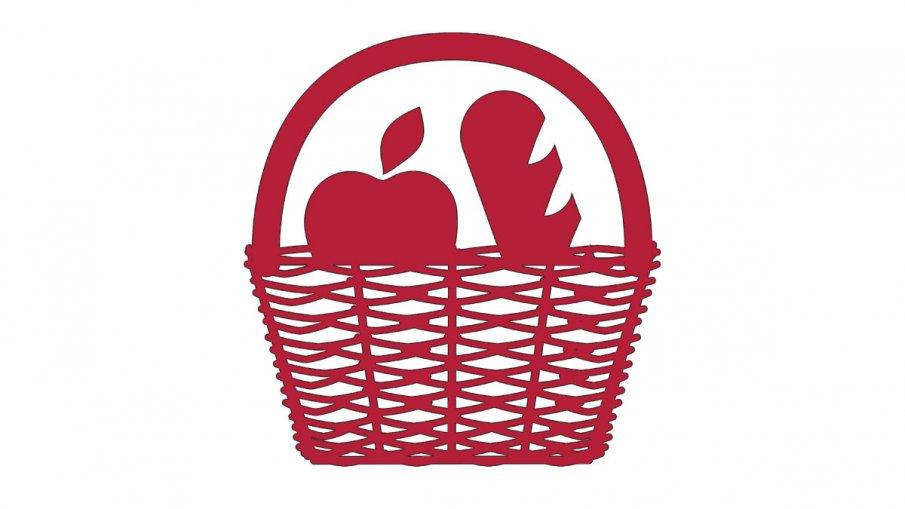 Illustration på en matkorg med äpple och bröd