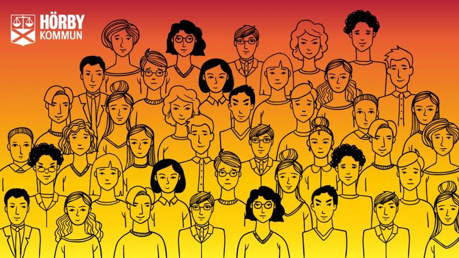 Teckning på många personer