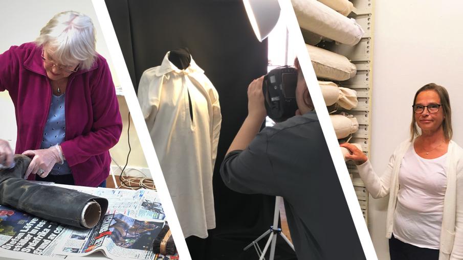 Tre bilder på putsning av stövlar, fotografering av en särk och paketeringen i magasinet.
