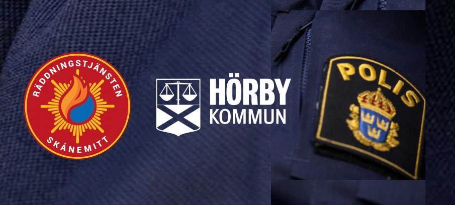 Logotyper för räddningstjänst, hörby kommun och polisen