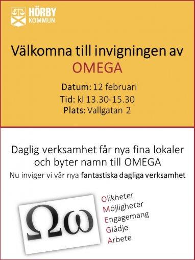 inbjudan invigning gul och vit omegatecken