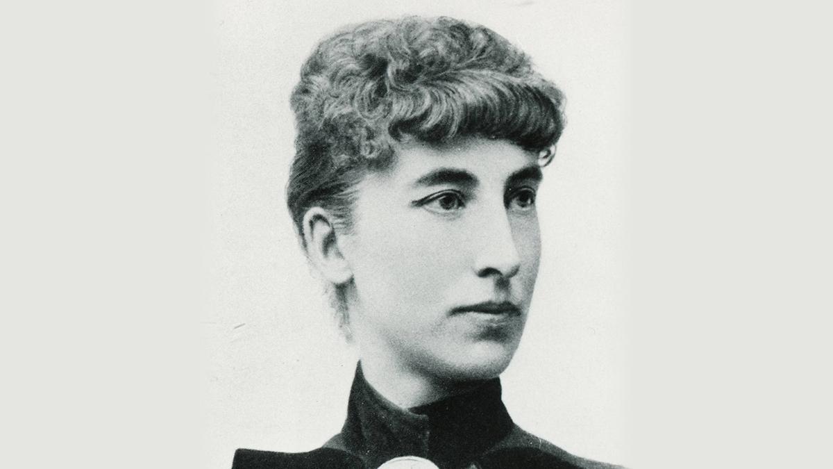 Svartvitt porträtt på Victoria Benedictsson.